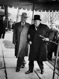 Pres Harry Truman Walking Arm-In-Arm with British Prime Minister Winston Churchill  Blair House
