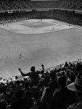 Fan Rooting for His Team in a Packed Stadium During Brooklyn Dodger Game at Ebbets