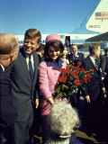 Pres. John F. Kennedy and Wife Jackie Arriving at Love Field, Campaign Tour with VP Lyndon Johnson Aluminium par Art Rickerby