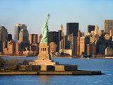 Skyline View of Manhattan  New York with the Statue of Liberty Landmark