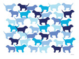 Blue Puppies Pattern