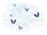 Blue Butterfly with Trails