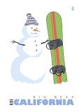 Big Bear  California  Snowman with Snowboard