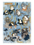 Famous Heroes of the Kabuki Stage Played by Frogs  Japanese Wood-Cut Print