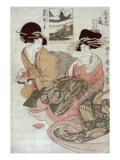 The Courtesan Tsukasa of Ogiya with Attendant  Japanese Wood-Cut Print