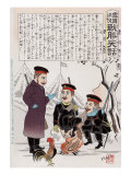 Russian Soldiers and a Rooster around a Campfire  Japanese Wood-Cut Print