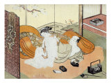Courtesan and Her Guest in Bed  Japanese Wood-Cut Print