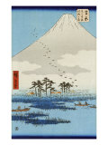 Boats on a Lake with Mount Fuji in the Background  Japanese Wood-Cut Print
