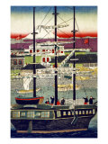 3 Masted Ship in Yokohama Harbor  Japanese Wood-Cut Print