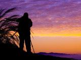 Silhouetted Traveler at Sunrise  Soussevlei  Namibia