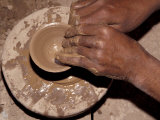Potter Forms Clay Cup on Wheel  Morocco