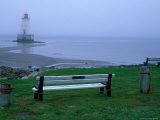 Sandy Point Lighthouse on a Foggy Morning  Nova Scotia  Canada