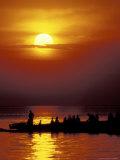 Boat at Sunset on Lake Tanganyika  Tanzania