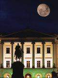 Full Moon over Royal Palace  Slotts Parken  Oslo  Norway