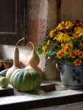 Gourds and Flowers in Kitchen in Chateau de Cormatin  Burgundy  France