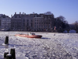 Frozen Canal and Boat  Amsterdam  Netherlands