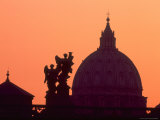 St Peter's Basilica and Statues on Ponte St Angelo  Vatican  Rome  Italy