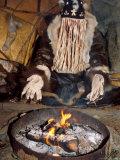 Native Shaman Performing by Bonfire  Kamchatka  Russia