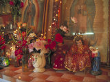 Altar with Candles  Flowers  and Spiritual Imagery for the Day of the Dead Celebration  Mexico