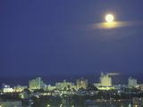 Moon over South Beach  Miami  Florida  USA