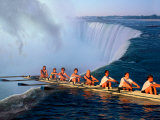 Rowers Hang Over the Edge at Niagra Falls  US-Canada Border
