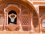 Man in Window of Fort Palace  Jodhpur at Fort Mehrangarh  Rajasthan  India