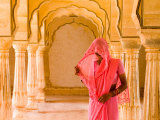 Arches with Hindu Woman at Amber Fort Temple  Rajasthan  Jaipur  India
