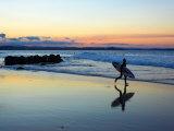Surfer at Dusk  Gold Coast  Queensland  Australia