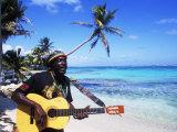 Reggae Singer with Guitar on Beach  Sainte Anne  Guadeloupe