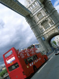 Tower Bridge with Double-Decker Bus  London  England