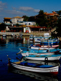 Waterfront Port with Fishing Boats  UNESCO World Heritage Site  Nessebur  Bulgaria
