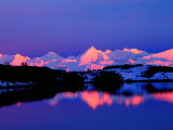 View of Alaskan Range and Mt Denali from Reflection Pond  Denali National Park  Alaska  USA