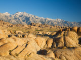 Alabama Hills with the Eastern Sierra Nevada Range  Lone Pine  California  USA