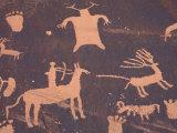 Petroglyphs on Sandstone Rock  Newspaper Rock  near Monticello  Utah  USA