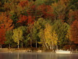 Lake and Boat with Fall Forest in Early Morning  New Hampshire  USA