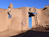 Pueblo House with Blue Door and Oven  Taos  New Mexico  USA