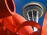 Space Needle with Olympic Iliad Sculpture  Seattle Center  Seattle  Washington  USA