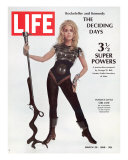 """Actress Jane Fonda Wearing Space-Age Costume for Role in """"Barbarella""""  March 29  1968"""