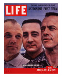 Portrait of Mercury Astronauts John Glenn  Gus Grissom and Alan Shepard  March 3  1961