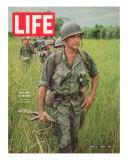 Soldiers Walking Through Grass in Vietnam  June 12  1964