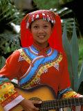 Ethnic Dancer Playing Guitar  Kunming  Yunnan Province  China