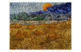 Landscape with Wheat Sheaves and Rising Moon Giclée par Vincent Van Gogh