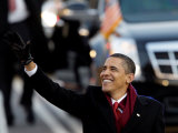 President Obama Waves as He Walks Down Pennsylvania Ave to the White House  January 20  2009