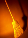 Straw Broom in Orange Light