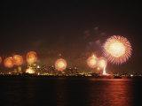 Fireworks Celebration with Manhattan Skyline and Statue of Liberty  Manhattan  New York