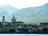 Skyline of Seaside European City Against Hills  Lago Majorie  Italy