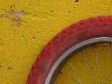 Cropped Red Bicycle Tire