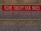 Take Off Shoes Sign on Stairs