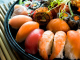 Assortment of Traditional Japanese Sushi on Platter