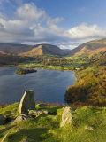 Grasmere Lake and Village from Loughrigg Fell  Lake District  Cumbria  England